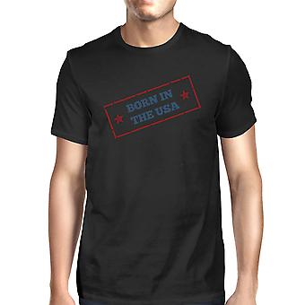 Urodzony w USA American Flag Koszula męska czarny graficzny Tee Shirt