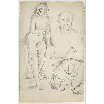 Paul Cezanne - Studies of Three Figures Poster Print Giclee