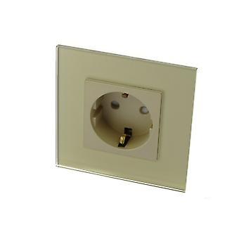 I LumoS Gold Glass Schuko 16A EU German Wall Plug Double Socket