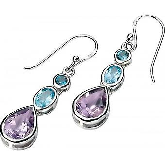 Elements Silver Topaz and Amethyst Drop Earrings - Silver/Blue/Purple