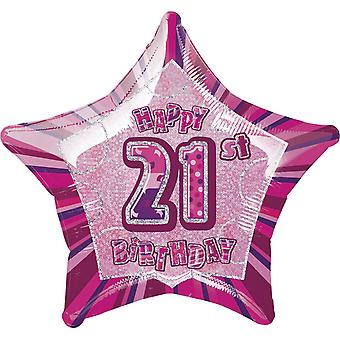 Unique Party Happy 21st Birthday Pink Star Foil Balloon