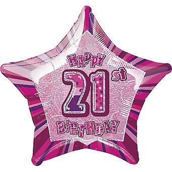 Unieke partij gelukkig 21e verjaardag roze ster folie ballon