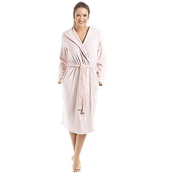 Camille Supersoft Pink Velour Knee Length Bathrobe