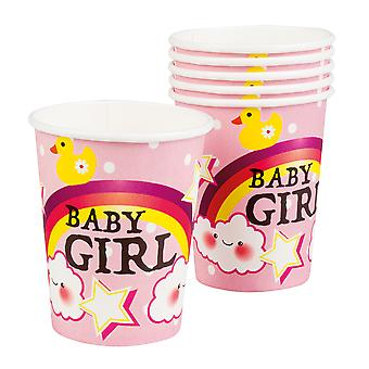 Boland Baby Shower Pink Baby Girl 6 Party Cups With Rainbow & Clouds 50cl
