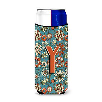 Letter Y Flowers Retro Blue Ultra Beverage Insulators for slim cans