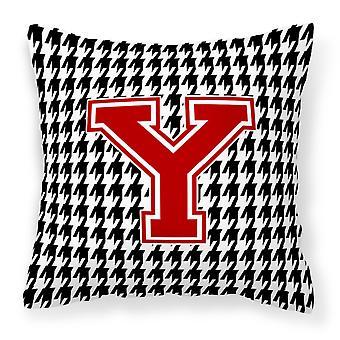 Monogram - początkowe Y Houndstooth płótnie dekoracyjne tkaniny poduszki CJ1021