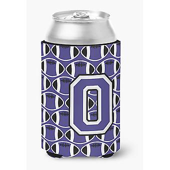 Letter O Football Purple and White Can or Bottle Hugger