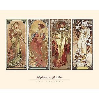Impression affiche les Saisons 1900 par Alphonse Mucha (20 x 16)
