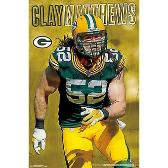 Green Bay Packers - Clay Matthews 16 Poster Poster Print