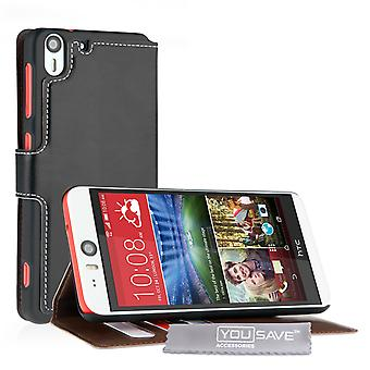 Yousave HTC Desire EYE Leather-Effect Stand Wallet Case - Black