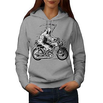 Grim Reaper Moto Horror Women GreyHoodie | Wellcoda