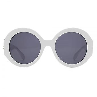 Alexander McQueen Edge Super Round Sunglasses In White