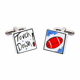 Touch Down Cufflinks by Sonia Spencer, in Presentation Gift Box. American Football