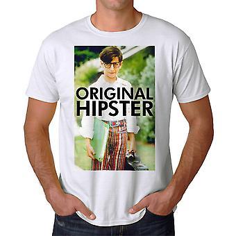 Den underligt år oprindelige Hipster mænds hvid T-shirt