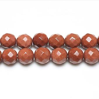 Strand 38+ Brown Goldstone 10mm Faceted Round Beads GS3406-3