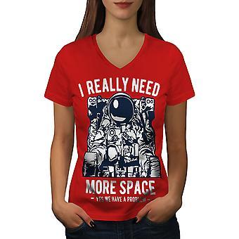Ich brauche wirklich Frauen RedV-Neck T-shirt   Wellcoda