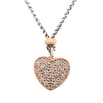 Orphelia sølv 925 halskæde Bicolor med hjertet ZK-7195