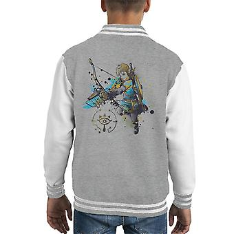 Legend Of Zelda Link Watercolour Kid's Varsity Jacket