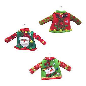 Miniature Tacky trøjer Santa snemand rensdyr sæt 3 ferie ornamenter