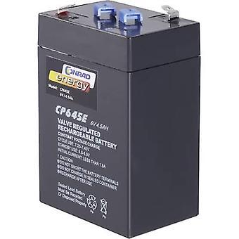 Conrad energy CE 6V / 4,5 Ah 250116 VRLA 6 V 4.5 Ah AGM (W x H x D) 70 x 108 x 48 mm 4.8 mm blade terminal Maintenance-f