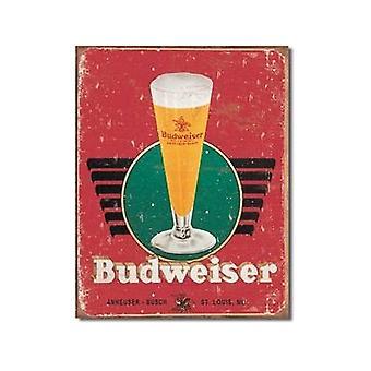 Budweiser Retro Glass Metal Sign