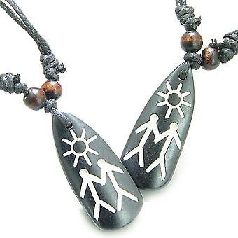 Amulett Set Liebe Verbindung paar Sonnenenergie tibetischen natürlichen Knochen magische Anhänger Halsketten