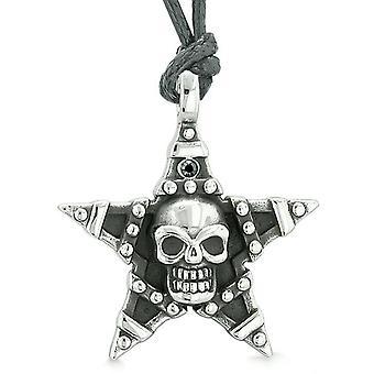 Alle ser kraniet magi Super Star femtakkede beføjelser Amulet sort krystal vedhæng regulerbar halskæde