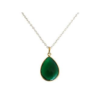 Gemshine - ladies - necklace - gold plated 925 Silver - - quartz - tourmaline - green - CANDY - drop - 60 cm