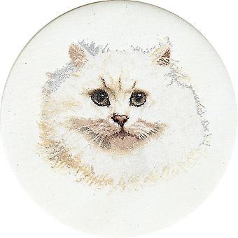 White Persian Cat On Aida Counted Cross Stitch Kit-16.5