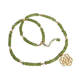 Ladies sterling silver Peridot Green Flower Art-Deco gold plated 45 cm