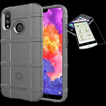 For Huawei kompis 20 Lite skjold case TPU silikon grå + 0,26 mm 2.5 d H9 herdet glass bag coveret ermet