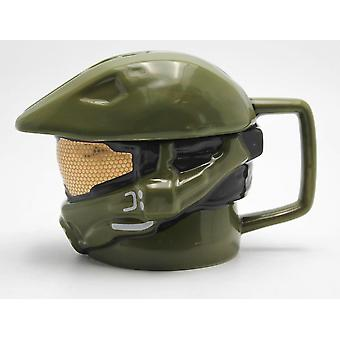 HALO green 3D Cup Master Chief helmet, with lid, ceramic.