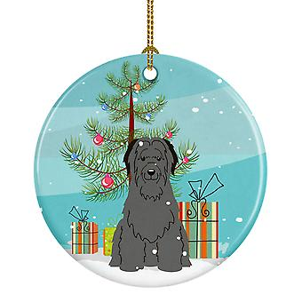 Merry Christmas Tree Briard Black keramische Ornament