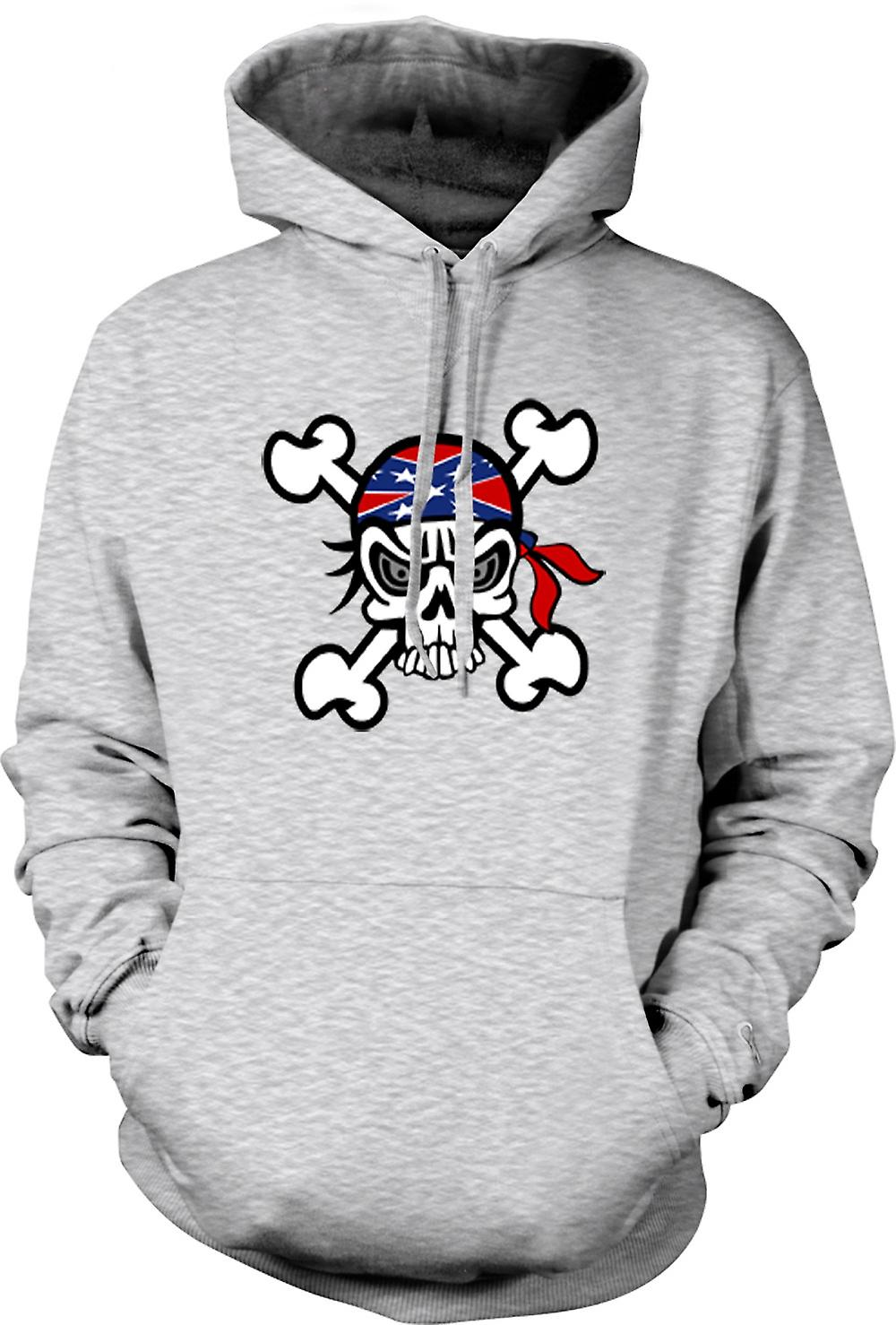 Mens Hoodie - Skull with Bandana & Cross Bones