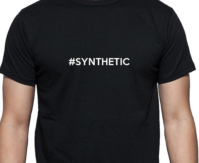 #Synthetic Hashag Synthetic Black Hand Printed T shirt