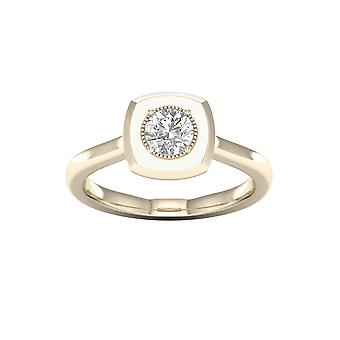 DE COUER 1/2Ct TDW Diamond 14k Yellow Gold Solitaire Engagement Ring (I-J, I2)