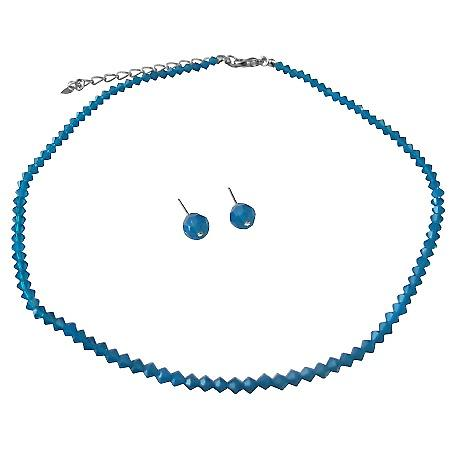 Bridesmaid Jewelry Cheap Sapphire Crystals Necklace & Earrings Set