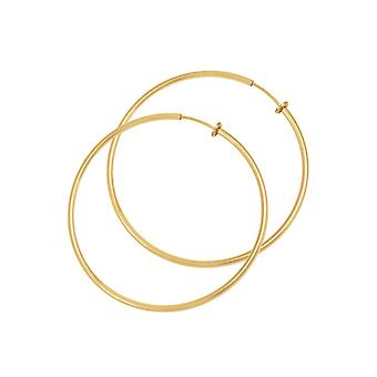Eternal Collection Hoopla 35mm Gold Tone Clip On Hoop Earrings