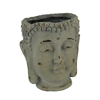 Antique Grey Stone Finish Buddha Head Planter
