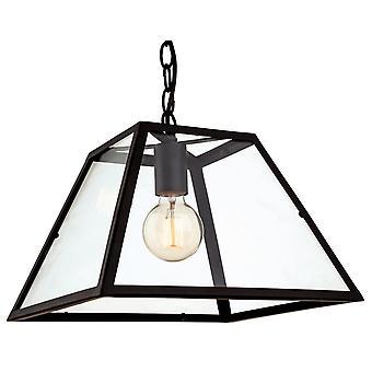 Firstlight-1 licht plafond hanger zwart, helder glas-3439BK