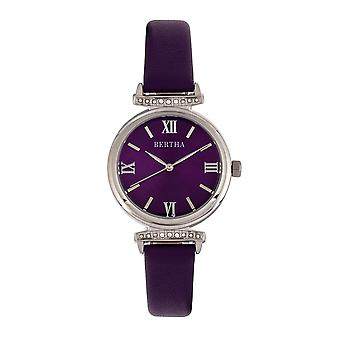 Bertha Jasmine Leather-Band Watch - Purple
