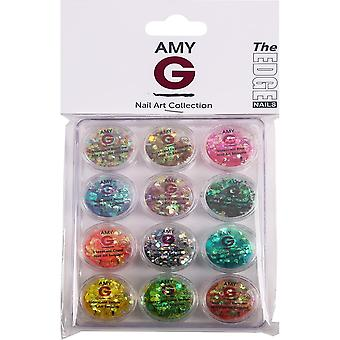The Edge Nails Amy G - Iridescent Nail Art Sequins - Iridescent Kit (12 X 0.5g) (3003081)