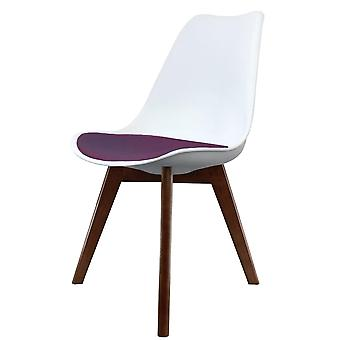 Fusion Living Eiffel Inspired White And Aubergine Purple Plastic Dining Chair With Squared Dark Wood Legs