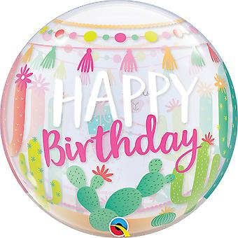 Qualatex Cactus Birthday Bubble Balloon