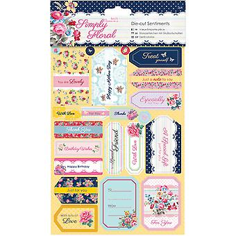 Papermania Simply Floral Sentiments Die-Cuts 2/Sheets-  PM157247