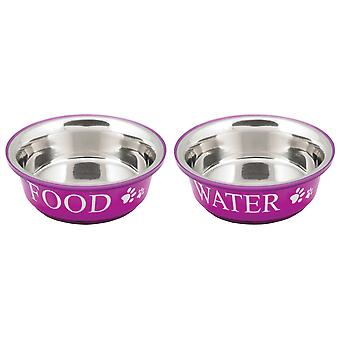 Food & Water Set Medium 1qt-Fuchsia 10191