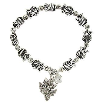 Silver Detailed Wise Owl with & Jingle Bell Stretch Charm Bracelet