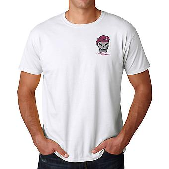 Parachute Regiment Maroon Beret Embroidered Logo - Cotton T Shirt