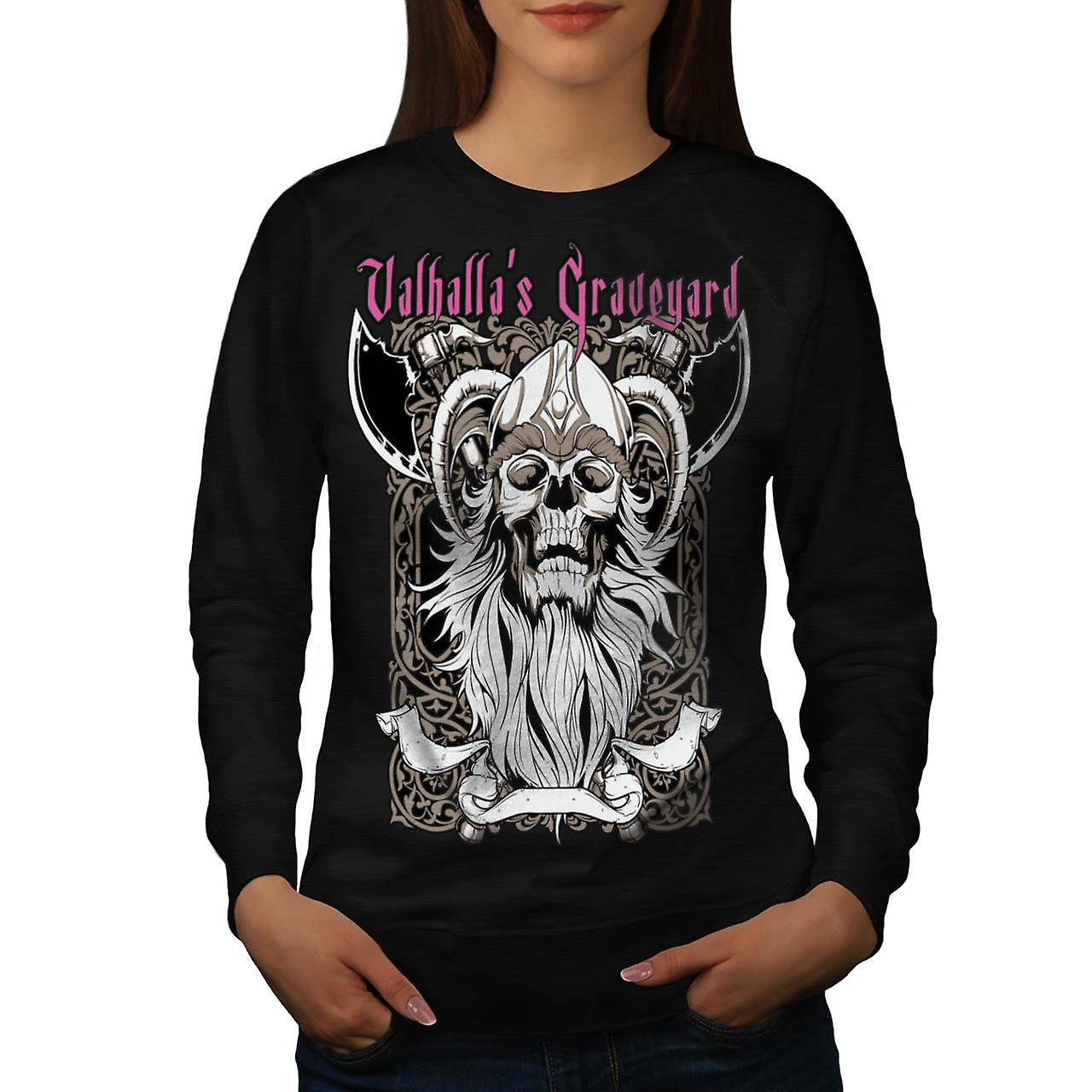 Valhalla Graveyard Monster Skull Women Black Sweatshirt | Wellcoda
