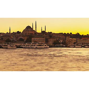 View of Istanbul at sunset Istanbul Turkey PosterPrint